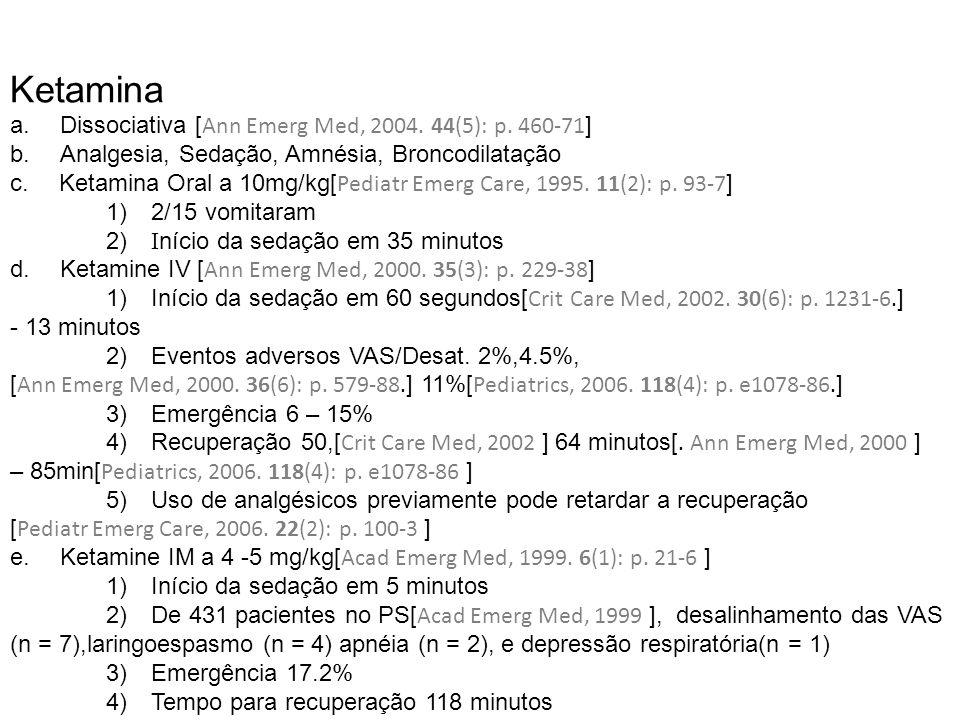 Ketamina a. Dissociativa [Ann Emerg Med, 2004. 44(5): p. 460-71]